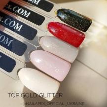 Nailapex «Gold Glitter» Top 15g. - универсальный топ без липкого слоя с золотым глиттером