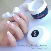 Акрилгель NailApex «New White» (50g.) (в баночке) — Белый (полигель в баночке)
