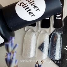 Nailapex Top «Silver Glitter» 15g. — универсальный топ без липкого слоя с бело-серебристым шиммером (15мл)