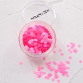 Декор для ногтей — «ДЕКОР МАТОВЫЙ» шестигранник неоново-розовый (№215)