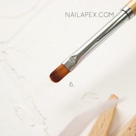 Кисть YiKou №6 язычковая для геля (горчичная ручка)