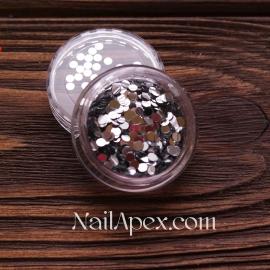 Декор для ногтей - №116 Круги средние серебро