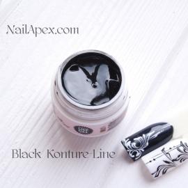 NailApex «Kontur-LINE Gel» (Черный) Цветной «Контур гель-паста» для дизайна и прорисовки.