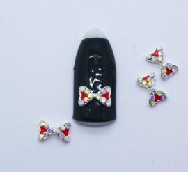 Броши для ногтей - Бант с красными вставками и стразами голограммными (A128-09)