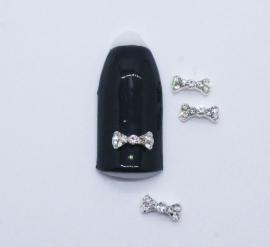 Броши для ногтей - Бант «Косточка» с белыми стразами (A140-01)