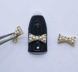 Броши для ногтей - Бант «Золотой» с жемчугом и белыми стразами (A246-04)