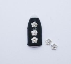 Броши для ногтей - «Цветочек» с белыми стразами (J001-01)