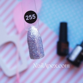 NailApex Gel Polish №255 гель-лак «Бриллиантовый Шиммер - Серебро» (6мл) ч/б