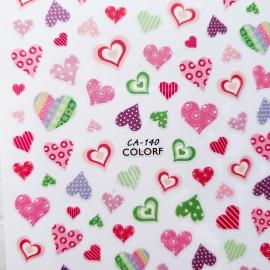 Наклейка (CA-140) Pink hearts
