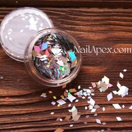 Ромбы для декора MIX —  Серебро голограммное разных размеров (№186)