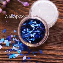 Ромбы для декора MIX — Синие голограммные разных размеров (№182)
