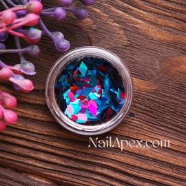 Ромбы для декора MIX — Голубой с малиновым разных размеров (№183)