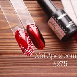 NailApex Gel Polish №275 гель-лак «Витражный - красный» (10мл) ч/б