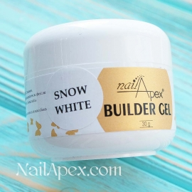NailApex Моделирующий Крем гель «Snow White» (30g) Builder Gel — Ярко-белый гель для ногтей