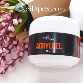 NailApex «Acryl LIGHT PINK Gel» Soak Off (30ml) (в баночке) — Розово-прозрачный UV/LED Акригель для ногтей
