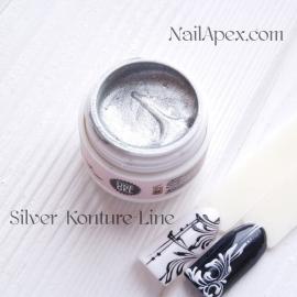 NailApex «Kontur-LINE Gel» (Серебро) Цветной «Контур гель-паста» для дизайна и прорисовки.