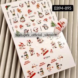 Наклейка (E894-895) Снеговики