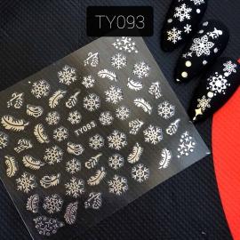 Наклейка (TY093) Снежинка, Пёрышко