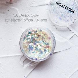NAILAPEX «Хлопья» №21 — Белые с золотым оттенком