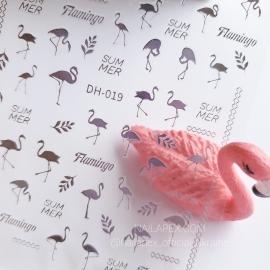 Наклейка (DH-019) Фламинго (серебро)
