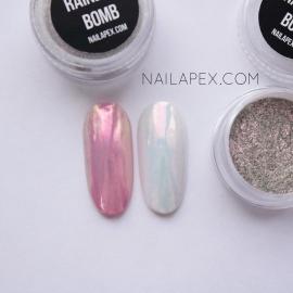 Радужная втирка «Rainbow-Bomb» — нежно-розовая втирка с легкой голограммой