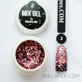 Декор-гель Nailapex «Mix-Gel» №2 — глиттер розовый