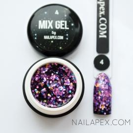 Декор-гель Nailapex «Mix-Gel» №4 — глиттер фиолетовый