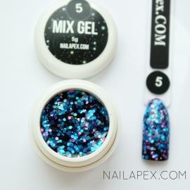 Декор-гель Nailapex «Mix-Gel» №5 — глиттер голубой с розовым