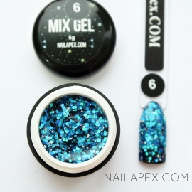 Декор-гель Nailapex «Mix-Gel» №6 — глиттер бирюзовый