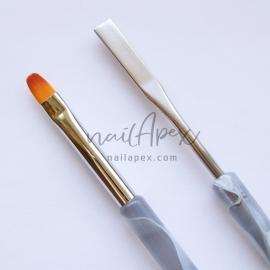 Кисть язычек со шпателем (мраморная ручка)