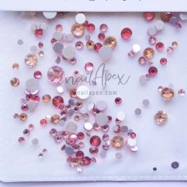 Стразы «Crystal» микс разноцветных камней: малиновые с желтым