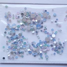 Стразы «Crystal» мутный опал: голубые и розовые (микс)