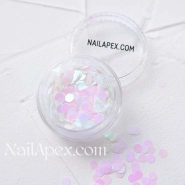 Декор для ногтей — «ДЕКОР ГОЛОГРАММНЫЙ» кружочки белые с розовым отливом (большие) (№232)