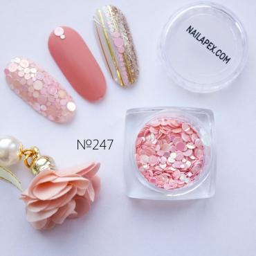 Декор для ногтей —жемчужный розовый кружочек (№247)