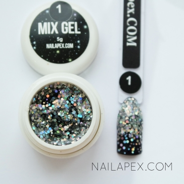 Декор-гель Nailapex «Mix-Gel» №1 — глиттер серебро