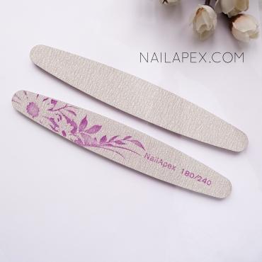 NailApex пилка 180/240 (овальная серая) с узором