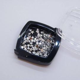 Декор для ногтей - звезда пластиковая (серебро) (ч/б)