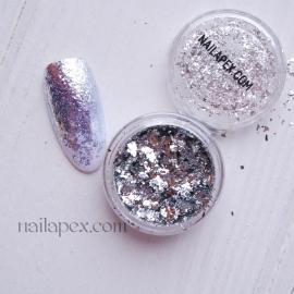 Декор для ногтей - «Хлопья» Серебрянные
