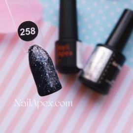 NailApex Gel Polish №258 гель-лак «Бриллиантовый Шиммер - Черный» (6мл) ч/б