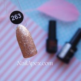 NailApex Gel Polish №263 гель-лак «Бриллиантовый Шиммер - Золотая Волна» (10мл) ч/б