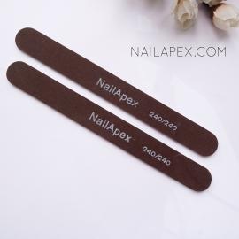 NailApex пилка 240/240 (тонкая, прямая пилка для натуральных ногтей)